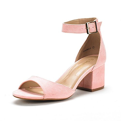 DREAM PAIRS Women's Chunkle Pink Suede Low Heel Pump Sandals Ankle Strap Dress Shoes - 7.5 M US