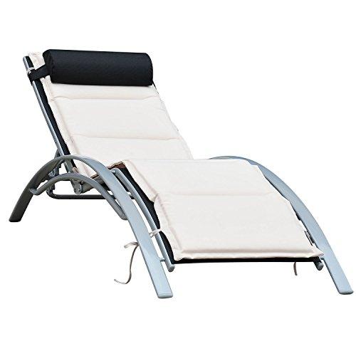 Outsunny Sonnenliege Gartenliege Gartenstuhl Relaxsessel Liegestuhl Alu verstellbar Schwarz