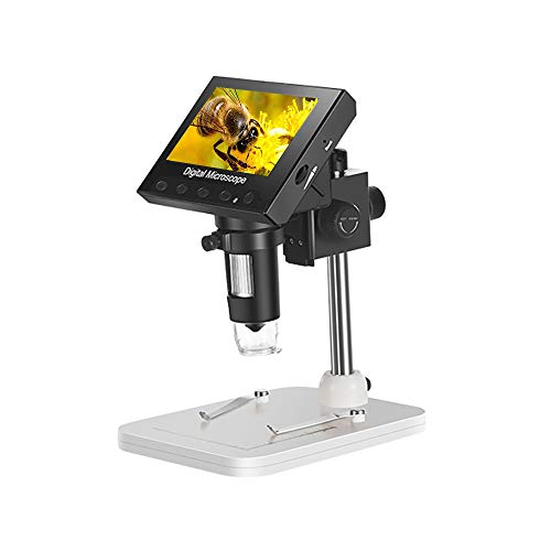 LCD Digital Microscope 4.3 inch Electric Magnifier 1000X USB Magnification with 8 Adjustable LED Lights, Camera Video Recorder for Edu, Jewelry/Coin Observation, Circuit Repair, etc