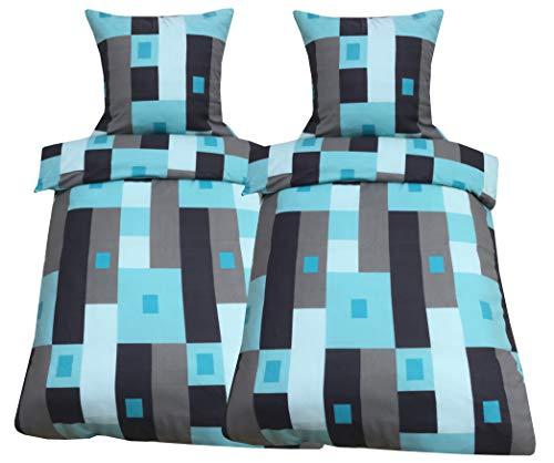 Leonado Vicenti 4tlg Flausch Bettwäsche 135x200 cm oder 155x220 cm Microfaser Thermo Fleece Winter kuschelig Bezug Kissen Decke mit Reißverschluss