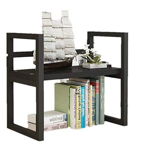 Vobajf Estanterías Estante de Mesa for niños Escritorio Estantería pequeña Estante de Oficina Estante de Almacenamiento de Impresora Negro Librero Grande