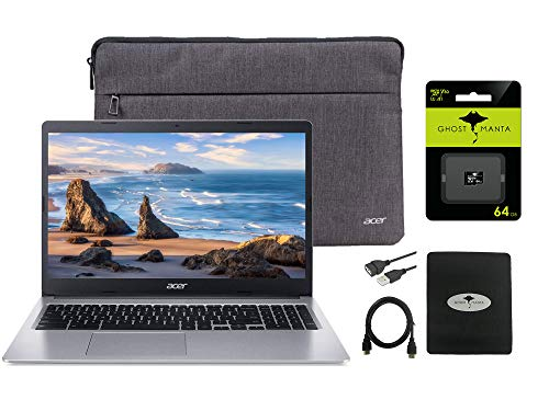 """2021 Acer Chromebook 15.6"""" Thin Light Laptop for Business and Student, Intel Celeron N4000(up to 2.60 GHz), 4GB RAM, 32GB eMMC, Protective Sleeve, Webcam, Zoom Meeting Chrome OS w/GM 64GB SD Card"""
