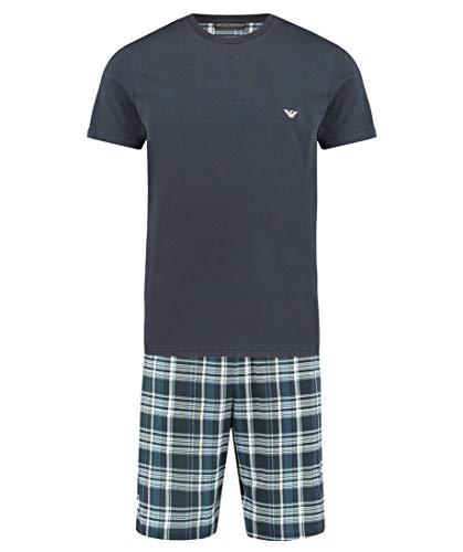 Emporio Armani zomerpyjama voor heren, effen kleur shirt met klein logo en korte patronen.