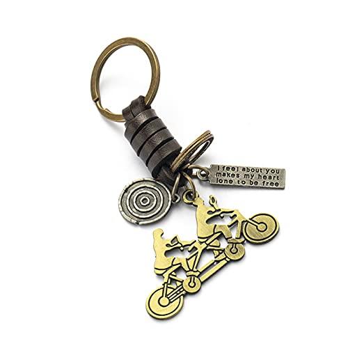LQMM Auto Schlüsselanhänger Ringliebhaber Paar Keychain Taschen Music Guitar Elefant Skateboard Hut Fahrrad für Schlüsselanhänger Tags Geschenke 608 (Color : Tandem Bicycle)