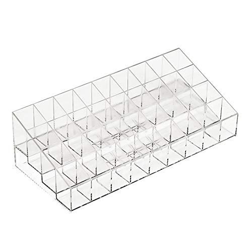 Transparent 36 grille support de rouge à lèvres acrylique organisateur cosmétique rouge à lèvres présentoir portable boîte de rangement de maquillage
