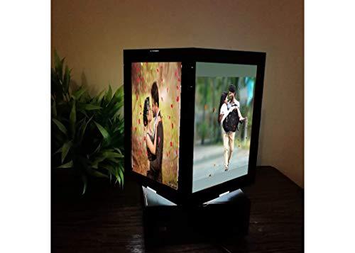 Printbob Customized LED MDF Photo Frame Rotating Night Lamp Personalized Photo Print Frame Birthday Gifts(Black, 8 X 4 inch) (6 x 4)