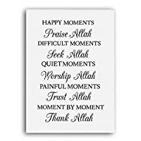 ウォールアート白黒感謝アッラー引用ミニマリストポスターキャンバス絵画イスラムプリントリビングルーム家の装飾(40x60cm)フレームレス