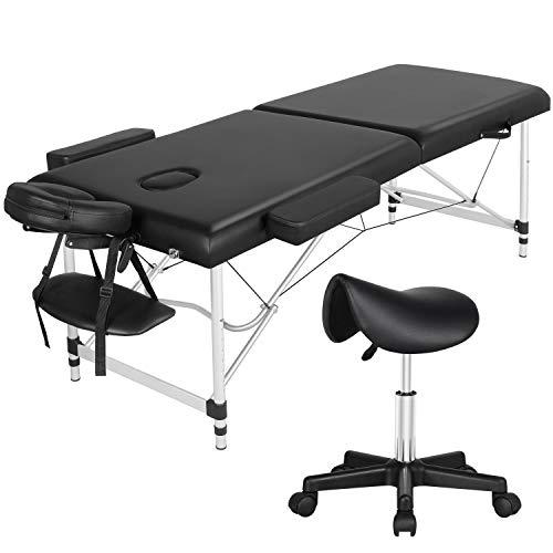 Yaheetech Portable Massage Table and Saddle Stool Set 2/3 Sections Folding...