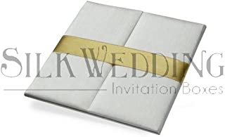 White Silk Invitation Folio with Golden Satin Sash