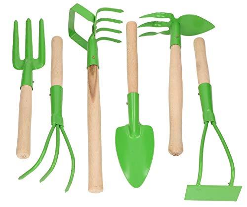 KOTARBAU® - Set di 6 mini attrezzi da giardinaggio, mini forca, rastrello per la cura del giardino