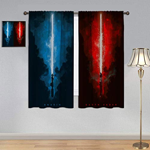 Bedroom Blackout Curtains Lightsaber Curtains, Anakin & Darth Vader Window Curtain Drape for Children Room Boy 42x63 Inch