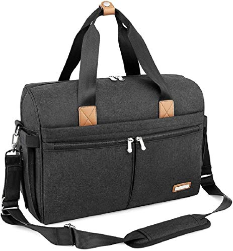 Changing Bag, RUVALINO Large Weekender Travel Nappy Tote Stylish for Mom and Dad Convertible Baby Bag for Boys and Girls with Changing Pad, Insulated Pockets, Dark Grey