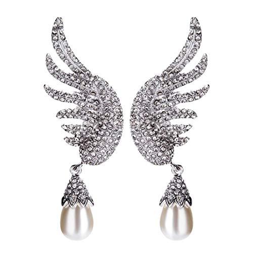 RONGW JKUNYU Pendientes del Diamante de múltiples Capas Colgante ala Manera de la Forma romántica Perla cumpleaños del Estilo de Bohemia