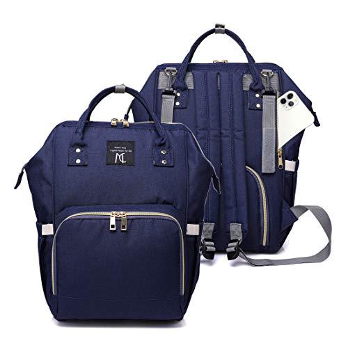 Nanrui Wickeltasche, Rucksack, wasserabweisend, 25 l, geräumige Windeltasche für Babys, Jungen und Mädchen, Rucksack, Reiserucksack mit 2 Kinderwagengurten - Marineblau