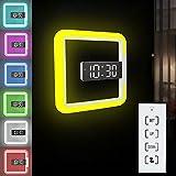 Orologio da parete con luce LED multifunzione, sveglia a LED, temperatura quadrata, orologio da parete con luce notturna a 7 colori, per la casa e l'ufficio