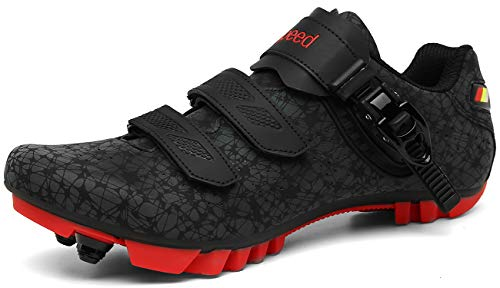 Mountain Bike Shoes Men MTB Cycling Shoes SPD Compatible Two-Bolt Cleat Cross Country Race Shoes Bike Breathable Stable Comfortable Durable Rider All-Mountain Trail Riding(BlackRed,8.5)