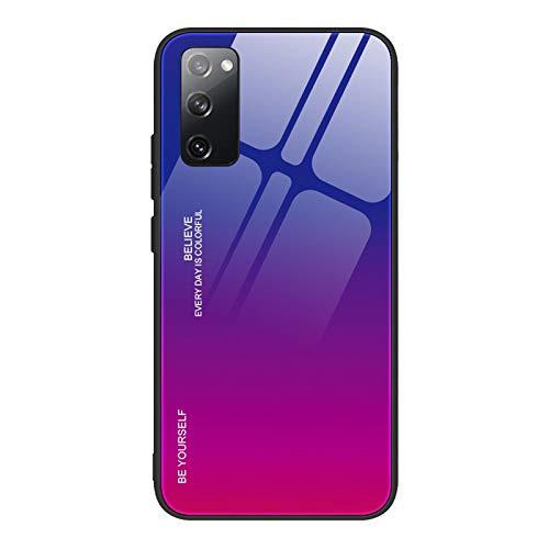 GOGME Cover per Samsung Galaxy S20 Fe 4G/5G Cover, Custodia in Vetro a Colori Sfumato, Vetro Temperato AntiGraffio Back Cover + Bordo in Silicone Morbido TPU Protettiva Case Cover(4)