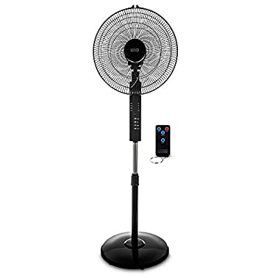 "LIVIVO Black Digital 16"" Pedestal Oscillating Stand Fan With Remote Control - Tilting Free Standing Cooling Fan Home Office Cool Air Tower With Adjustable Height & 3 Speed Settings & 4 Hour Timer"