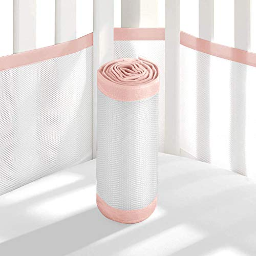 Tonquu Baby Crib Bumper Pads for Standard Cribs Machine, Lightweight Washable Safe Hypoallergenic, Baby Mesh Crib Liner (Pink)…