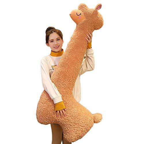 TZJ Fluffy Alpaca Plüsch Umarmungskissen Spielzeug, Kuscheltier Schlafkissen Puppe süßeste Kuschel Langhals Alpaka Plüsch Sofa Kissen Kissen (Brown,100cm/39.37in)
