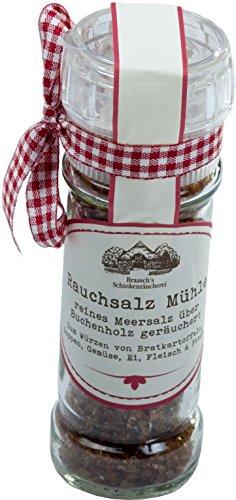 Räuchsalz MühleRauchsalz Mühle 100g. Reines Meersalz über Buchenholz geräuchert. Zum Würzen von Bratkartoffeln, Suppen, Gemüse, Ei, Fleisch und Fisch.