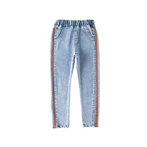 nobrand Skinny Fit Jeans Jeans für Mädchen mit hoher Taille Hellblaue Jeanshose mit Seitenband Princess Girl Side Stripe Jeans für Teenager