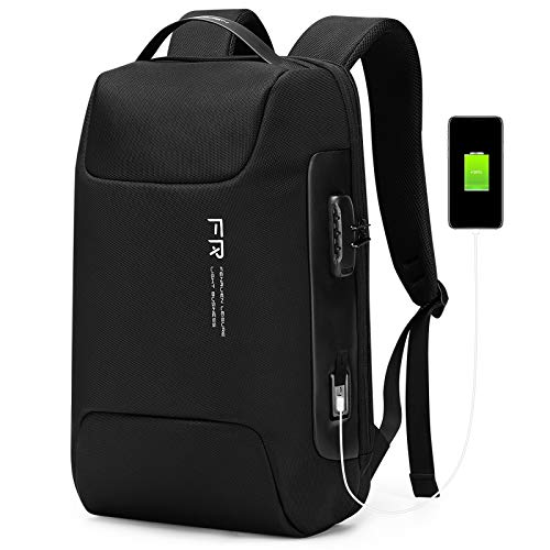 FENRUIEN 25L Ultra Lightweight 15.6 Inch Laptop Backpack with Lock,Water Resistant Rucksack with USB Charging Port,Foldable Business/Travel/College Daypack,Black