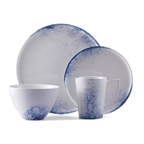 Brilliant 16 Piece Dinnerware Set, Lexa Pattern   Durable Glazed Porcelain – Microwave and Dishwasher Safe – Service For 4 – White and Blue Dishes for Casual Entertaining and Everyday Use