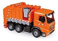 Lena 02168 - Starke Riesen Müllwagen Mercedes Benz Arocs, orange / silber, ca. 74 cm, Müllfahrzeug mit 3 Achsen, großes Spielfahrzeug für Kinder ab 3 Jahre, robustes Müllauto mit Funktion und Zubehör