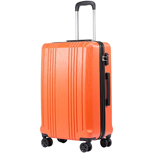 Coolife Luggage Suitcase PC+ABS with TSA Lock Spinner Carry on Hardshell Lightweight 20in 24in 28in(orange, M(24IN))