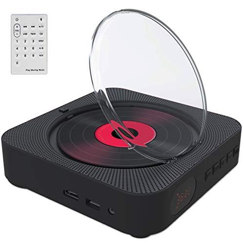 Tragbarer CD Player, Wandmontierbarer DVD Musik Player mit Bluetooth, LCD Bildschirm, Fernbedienung, Staubschutzhülle, Eingebaute HiFi Lautsprecher,Schwarz