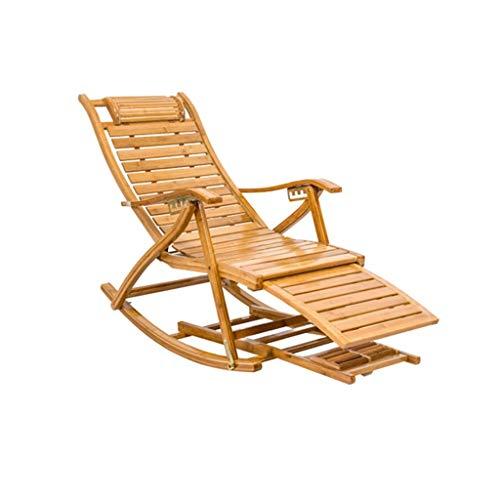 WFFF Mecedora de bambú Silla Mecedora Plegable de Madera Maciza de Ocio Ajustable, Utilizada para jardín, balcón, Playa, Almuerzo, Silla de Sol