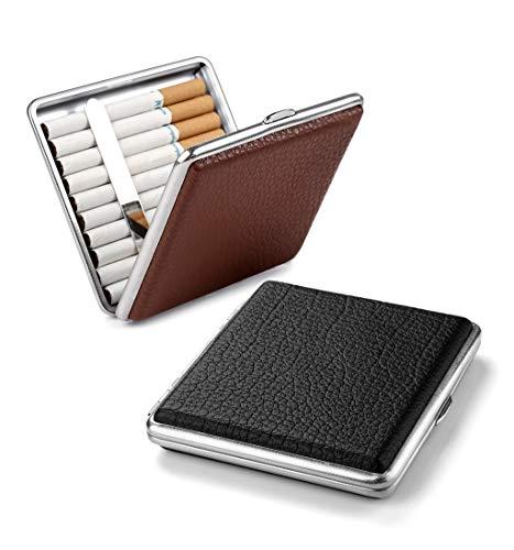 2 X Zigarettenetui Schwarz aus hochwertigem Metall/PU Leder, elegant Zigarettenbox Brown zurückhaltend Dank Brown Applikation aus pu Leder Cigarette Case für 20 Zigaretten