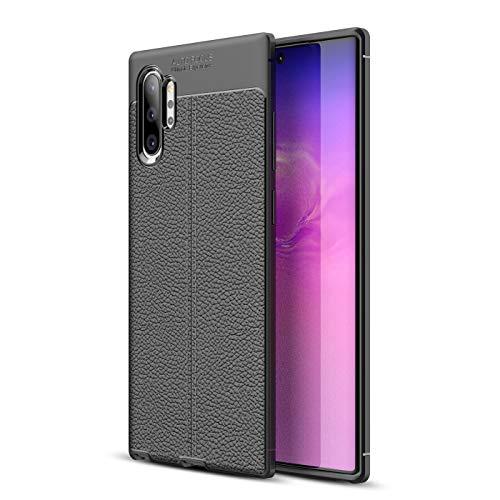 Olixar - Custodia protettiva in pelle per Samsung Galaxy Note 10 Plus 5G, assorbimento degli urti, in ecopelle, compatibile con ricarica wireless, colore: Nero
