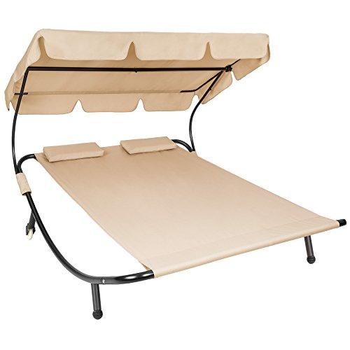 TecTake 800089 Tumbona Doble de Jardín, Parasol Plegable, 2 Cojines, Estructura de Metal, Interior & Exterior (Beige | No. 401223)