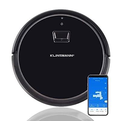 Klinsmann K186 Robot Vacuum and Mop, Visual Navigation, Scheduling, Wi-Fi, APP & Alexa Voice Control, Self-Charging Robotic Vacuum Cleaner, Ideal for Hard Floors to Medium-Pile Carpets