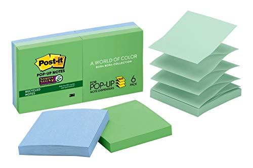 Post-it Super Sticky Pop-up Notes, 7,6 x 7,6 cm, 6 blocos, 2 x The Sticking Power, Coleção Bora Bora, Cores legais (verde, azul claro, azul, menta, verde), reciclável (R330-6SST)