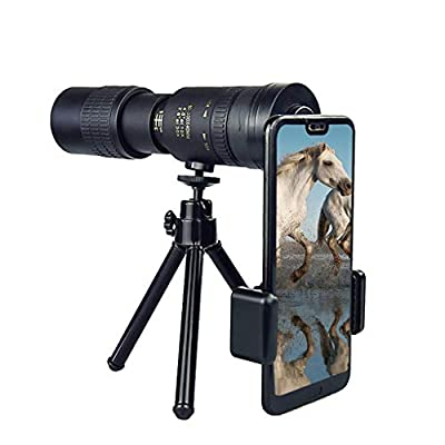 4K 10-300x40mm Super Telephoto Zoom Monocular Telescope, High Definition Telescope with Phone Clip, Tripod, Black-with Clip (B)