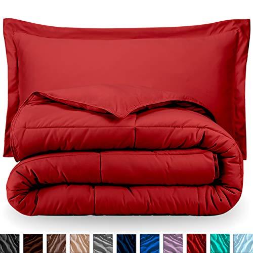 Bare Home Ultra-Soft Premium 1800 Series Goose Down Alternative Comforter Set - Hypoallergenic - All Season - Plush Fiberfill, Twin Extra Long (Twin XL, Red)