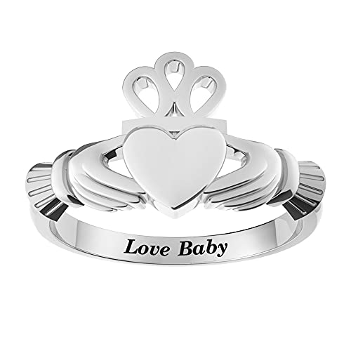 SHAREMORE Claddagh Ring for Women Irish Sterling Silver Jewelry Love Friendship Rings