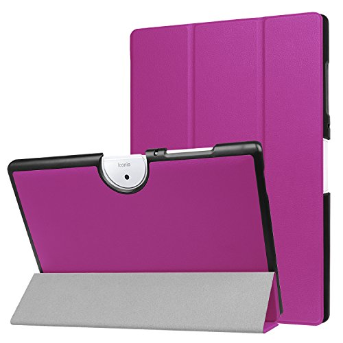 custodia tablet acer iconia one 10 Acer Iconia One 10 B3-A40 Custodia -Bloomy Shop Smart Shell Cover Slim in Pelle PU Ultra Sottile per Acer Iconia One 10 B3-A40 Tablet da 10.1 Pollici (purple)