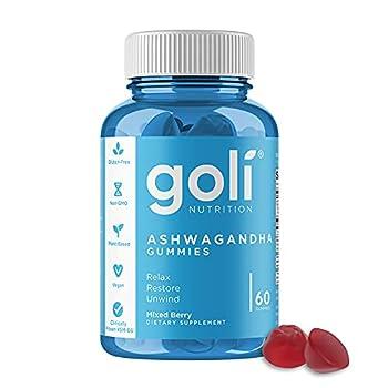ASHWA Vitamin Gummy by Goli Nutrition - Ashwagandha Gummies - Relax Restore Unwind  Mixed Berry KSM-66 Vegan Plant Based Non-GMO Gluten-Free & Gelatin Free - 60 Count