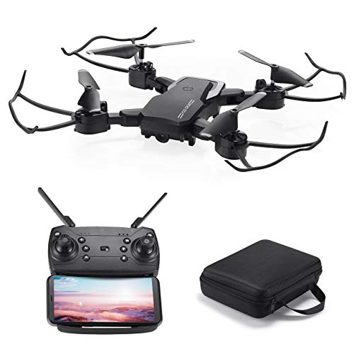 Powerextra Mini Drone con Cámara para niños y Adultos - 2 x Baterías RC Quadcopter Giroscopio de 6 Ejes con Control Remoto HD WiFi Cámara FPV 2.4 GHz Flips 3D y función de Giro de Alta Velocidad