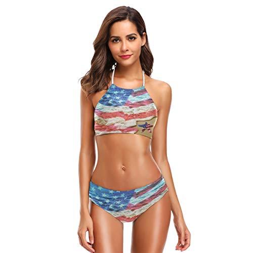 DXG1 Beach American Flag Donna Carino Bikini Set Spiaggia Costumi da Bagno Costume da Bagno con Imbottito Colore 1 M