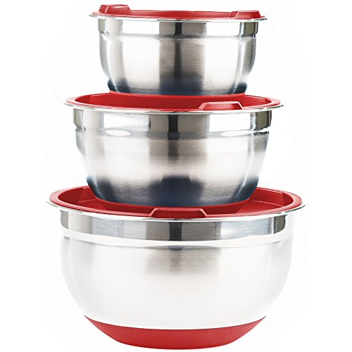 Premium Stainless Steel Mixing Bowls with Lids and Non Slip Bottom (Set of 3) by Fitzroy and Fox, Red or Blue