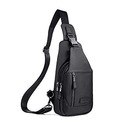 Genuine Leather Sling Bag Small,Chest Shoulder Bags for Men Outdoors Anti Theft