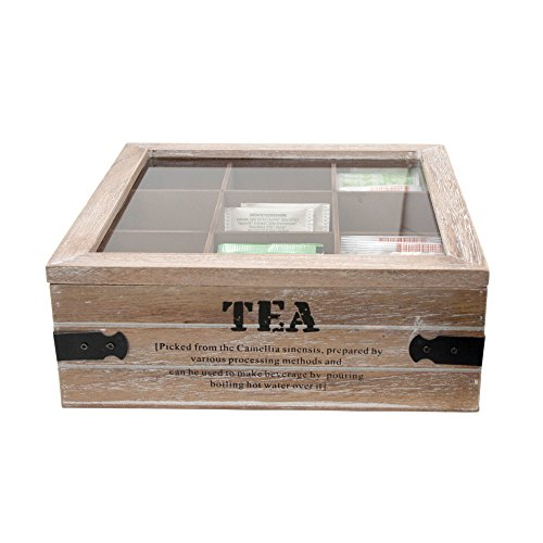 ToCi Teebox Tea | Große Teedose 24 x 24 x 8,5 cm (LxBxH) | Teekiste mit 9 Fächern | Teebeutelbox aus Holz mit Deckel im Vintage Look