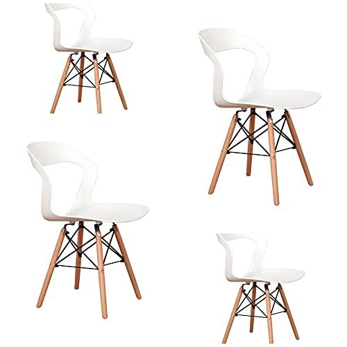 Dining Nordic moderno minimalista colorato plastica lino sedia casa soggiorno cucina sedia chic log piedi mobili (un set di 4/6) (bianco1, 4)