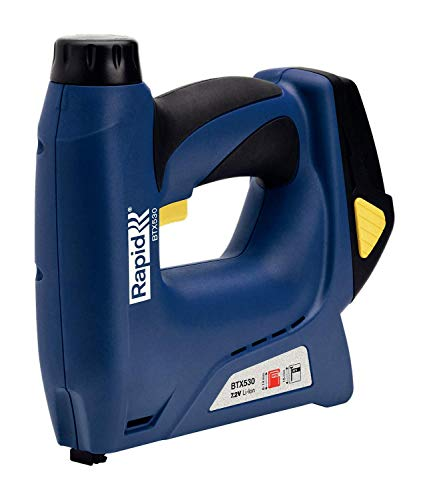 Rapid 5000214 BTX530 Electric Gun, Battery, for Furniture Upholstery, Textiles, Carpet and Leather. No. 53 Staples and No.8 Brads, 7 V