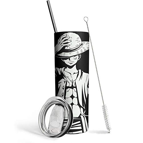 One Piece Anime Insulated Stainless Steel Tumbler Cups Reusable Straws Travel Cup One Piece Water Bottle